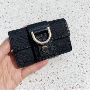 NWT Authentic D-ring GG Canvas Leather Key Wallet